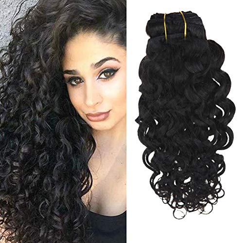 Wavy hair extensions clip in human hair
