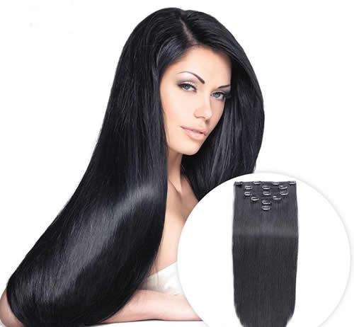 Extensiones de cabello color negro
